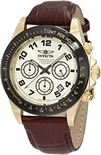Invicta Men's 10709 Speedway Chronograph Gold Dial Brown Leather Watch