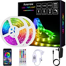 Aourow LED Strip 10m(2x5m) Zelfklevend,Bluetooth LED Strip RGB met APP Bediening en 40 Toetsen Afstandsbediening,Synchroni...