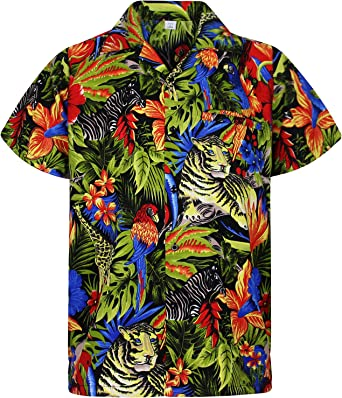 Original King Kameha | Funky Camisa Hawaiana Señores | XS-12XL | Manga Corta Bolsillo Delantero | Impresión de Hawaii | Jungle