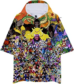 Men Dragon Ball 3D Print Lightweight Half Sleeve Pullover Hooded T Shirt Hoodie with Front Pocket