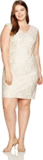Alex Evenings Women's Plus-Size Short Shift Dress with Embroidered Neckline
