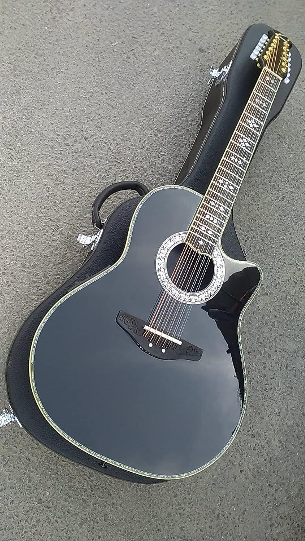 Guitarra 41 Pulgadas 12 Cadena De Guitarra De Ovación Retroiluminación Redonda Ovación De Carbono con Fibra De Carbono Guitarra Eléctrica 12 Cuerdas Guitarra Acústica Guitarra de Madera AMINÍ