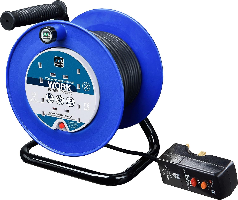 MasterPlug ldcc2513 4blrcd Open Kabeltrommel mit RCD befestigt mit Thermo Cut Out und Reset Taste, 25 m 4 Steckdosen 13 Amp B004I5BQ2Y   Lebhaft und liebenswert