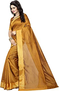 ETHNICMODE India Women's Cotton Silk Style Saree with Blouse Piece (Multi-Color_Free_Size) Monika Mustard NS