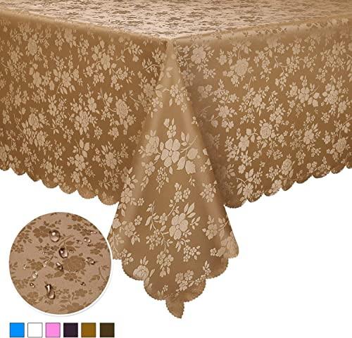 Locika Washable Vinyl Tablecloth Easy Care Dinning Tablecloth Rectangle Heavy Duty Plastic Tablecloth Waterproof Spil...