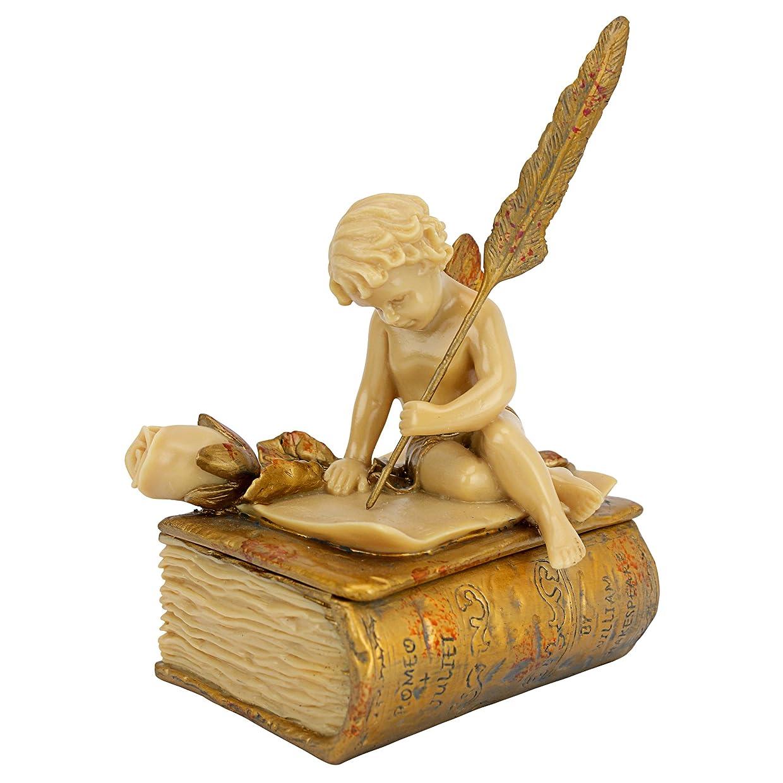 理解廃棄する貪欲ラブレターを書く天使 エンジェル置物 小物入れインテリア/ Design Toscano The Love Letter Sculptural Box(並行輸入品