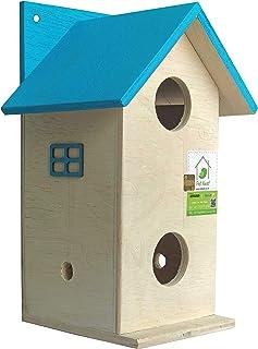 PetNest Beautiful Duplex Bird House Nest Box for Sparrow and Garden Birds Wood Bird Nest Garden Outdoor Decor for Attracti...