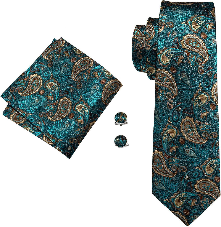 Neckties Set 100% Silk Mens Ties Paisley Striped Neckties For Men Formal Business Wedding Ties Pocket Square Brooch Set