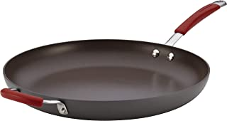 Rachael Ray 87631-T Cucina Hard Anodized Nonstick Skillet with Helper Handle, 14 Inch Frying Pan, Gray/Red