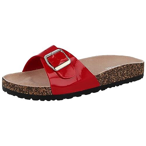 7c353e05d4 Ladies ELLA Marina Patent Faux Leather Buckle Slip On Peep Toe Flat Cork Flip  Flop Mule