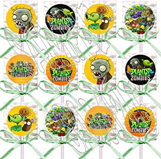 Plants vs Zombies Lollipops Video Game Party Favors Supplies Decorations Lollipops with Lime Green Ribbon Bows Party Favors -12 pcs