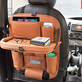 ALLEXTREME PU Leather Car Backseat Organizer with Foldable Dining Table (Tan)
