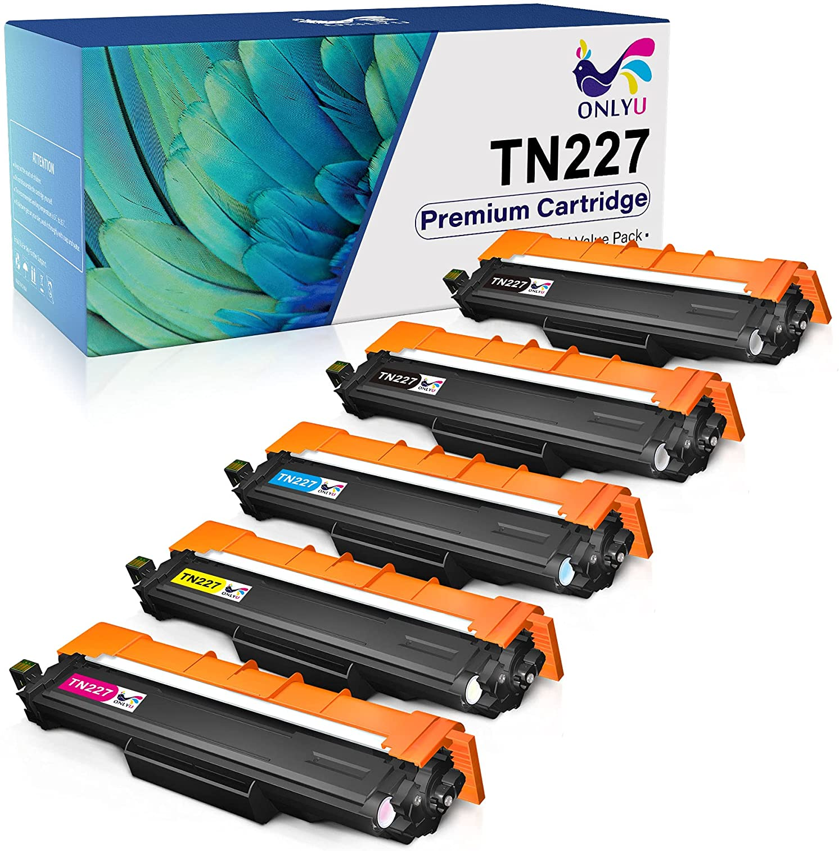ONLYU Compatible Toner-Cartridge Replacement for Brother TN227 TN-227 TN-227BK TN223 TN223BK for HL-L3210CW HL-L3290CDW HL-L3230CDW HL-L3270CD MFC-L3750CDW MFC-L3710CW MFC-L3770CDW Printer (5 Pack)