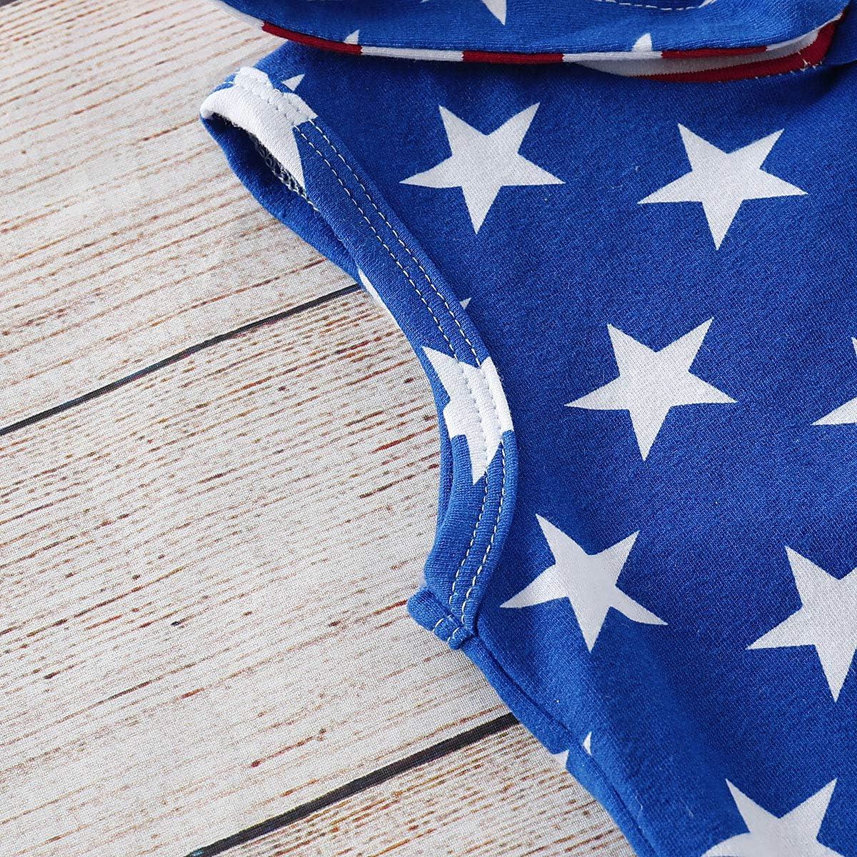 2Pcs/Set Baby Boy Patriotic 4th of July Outfits,Sleeveless T-Shirt Top+Harem Pants
