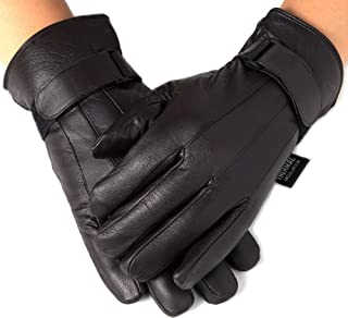 Mens Gloves Dressy Genuine Leather Warm Thermal Lined Wrist Strap