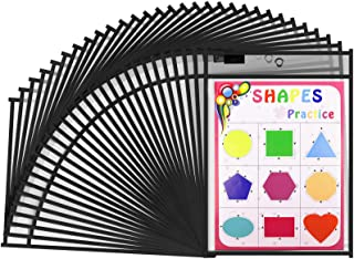 Gamenote Dry Erase Pockets 30 Pack with Rings - Oversized Reusable Plastic Sleeves Shop Ticket Holders Sheet Protectors Te...