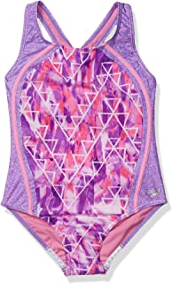 Speedo Girls' Swimsuit-Printed One Piece Thick Strap Racer Back