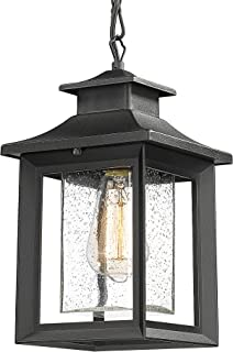 Outdoor Pendant Light Fixtures, Farmhouse Indoor Ceiling Hanging Porch Lantern in Black Metal with Clear Seeded Glass, Hei...