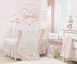 Lambs & Ivy Confetti Heart 4 Piece Crib Bedding Set, Pink/Gold