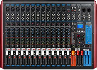 XTUGA FTM12 12-Channel Professional Audio Mixer Sound Built-in 99-bit DSP Digital effect with Recordable function and Digital display MP3,Bluetooth,USB,EQ,Effects (12-Channel)