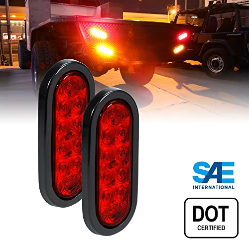 enclosed trailer lights amazon com 2pc 6 oval red led trailer tail lights dot certified grommet