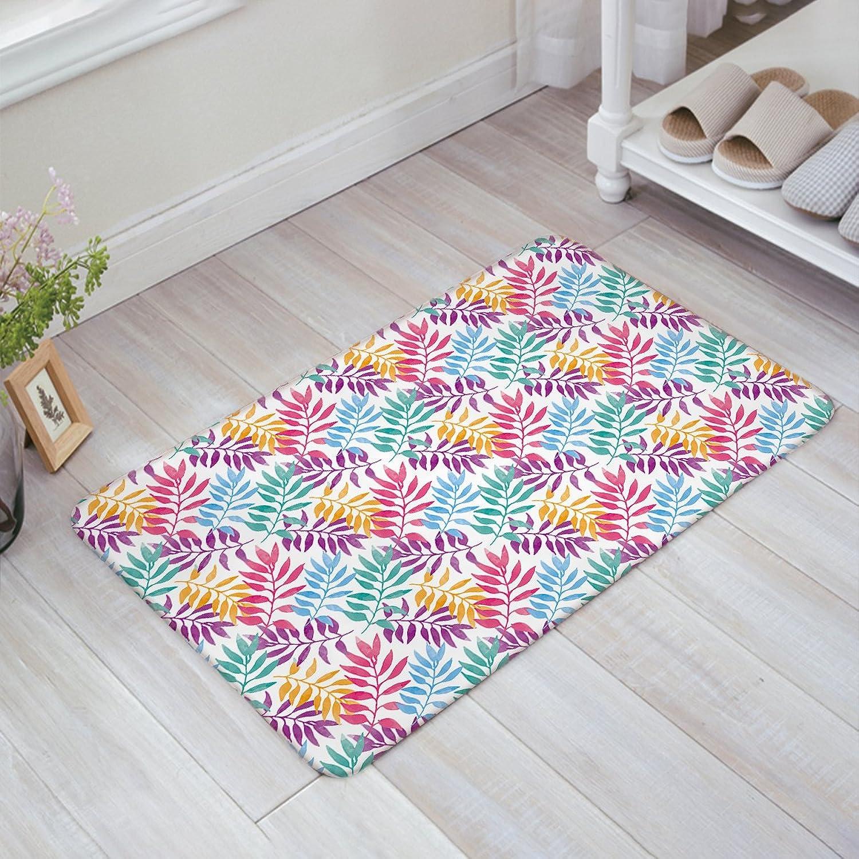OneHoney Hawaiian Tropical Leaves,Tropical Palm Theme Kitchen Bathroom Soft Durable Accent Rug Small Carpet Mat 18  x 30
