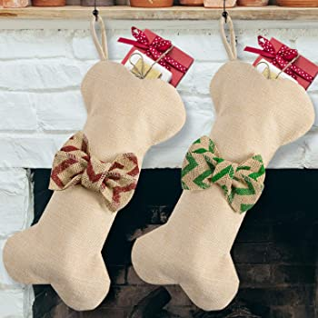 1 Pack Beyond Your Thoughts New Linen Dog Bone Christmas Stockings for Pet Jute Natural Burlap Holidays-16 inches x 8 inches 1# Red Bowknot