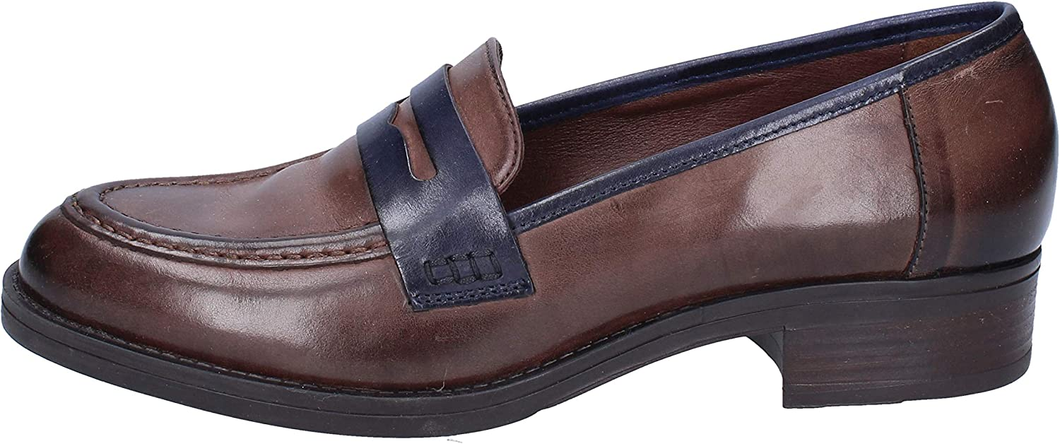 women PIU' Loafers-shoes Womens Leather Brown