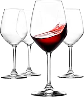 Paksh Novelty Italian Red Wine Glasses - 18 Ounce - Wine Glass Clear (Set of 4)