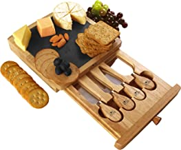 Utopia Kitchen Cheese Board and Knife Set - Set Includes Cheese Slate, 4 Stainless Steel Cheese Knives, Charcuterie Board ...