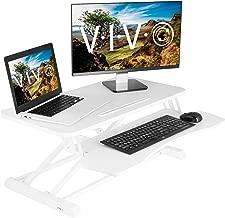 VIVO White Height Adjustable 32 inch Standing Desk Converter | Sit Stand Tabletop Dual Monitor and Laptop Riser Workstation (DESK-V000KW)