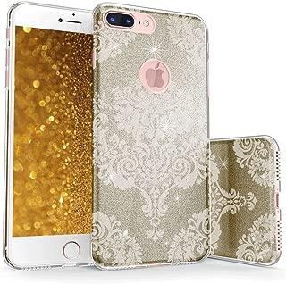 真正的彩色手机壳可与 iPhone 7 Plus 闪光手机壳,闪耀闪亮蕾丝锦缎印花三层混合质腰带防震 TPU 外壳 - 金色