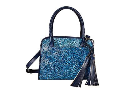Patricia Nash Small Paris with Tooled Flower Design (Safflower Blue) Bags