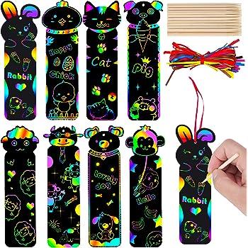 80 Pezzi Animali Segnalibri Scratch Segnalibri Arcobaleno di Carta Segnalibri da Appendere Animali Zoo Fai-Da-Te con 30 Pezzi Bastoncini di Legno e 80 Pezzi Nastri Colorati per Forniture Artigianali