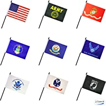 27 Pack Military Armed Forces Stick Flag Small Mini US Army Gold Crest Marine Corps Navy Air Force Coast Guard POW MIA Flags Party Decorations