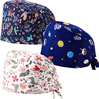 Syhood 3 Pieces Working Cap with Button Sweatband Adjustable Bouffant Turban Hats Printed Tie Back Bonnet Hats for Women Men