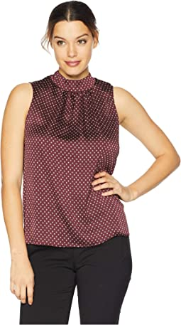 Sleeveless Trinket Geo Mock Neck Tie Back Blouse