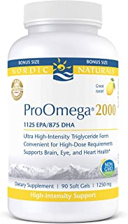 Nordic Naturals ProOmega 2000 - Fish Oil, 1125 mg EPA, 875 mg DHA, High-Intensity Support for Cardiovascular, Neurological, Eye, Joint, and Immune Health*, Lemon Flavored, 90 Soft Gels
