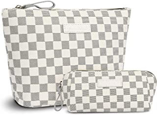 iBeacos Checkered Large Makeup Bag Small Cosmetic Pouch for Purse Handy Makeup Bags Set Cute Travel Toiletry Organizer for Women, Cosmetics, Make Up Tools, Toiletries (2 in 1,White)