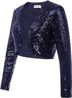 Women's Sequin Jacket Long Sleeve Open Front Glitter...