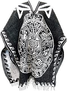 Authentic Mexican Poncho Reversible Cobija Blanket - Aztec Calendar