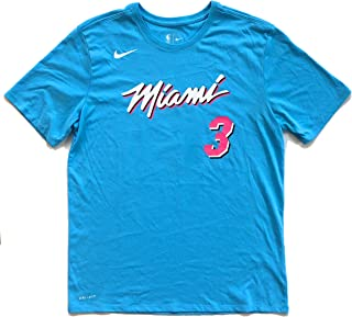 Dwyane Wade Miami Heat City Edition Vice Nights Name & Number Blue Performance T-Shirt - Men's Medium