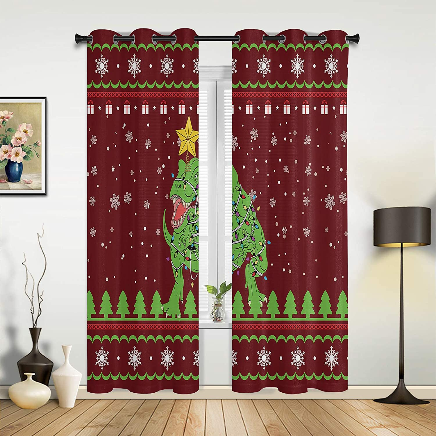 Window Curtains Drapes Panels Christmas excellence Snowflake Dinosaur Gift Discount mail order
