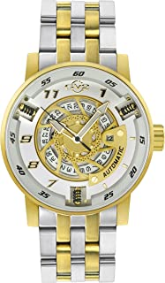 GV2 Men's Motocycle Sport Gold Tone Swiss Automatic Watch with Stainless Steel Strap, 24 (Model: 1306B)