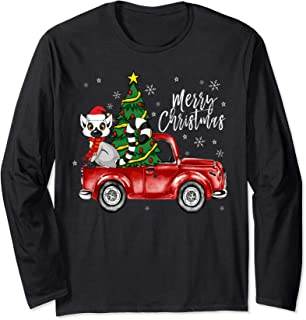 Cute Lemur Truck Christmas Costume Funny Lemur Lover Gift Long Sleeve T-Shirt