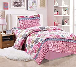 Kids Compressed Comforter 3Piece Set, Single Size, Colored Flowers 3, Pink, Microfiber