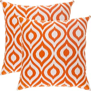 TreeWool Decorative Square Throw Pillowcases Set Ikat Ogee Accent 100% Cotton Cushion Cases Pillow Covers (16 x 16 Inches / 40 x 40 cm; Orange & White) - Pack of 2