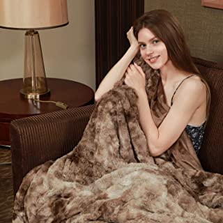 Viviland Faux Fur Throw Blanket, Luxury Soft Plush Shaggy Fleece Blanket, Machine Washable, Brown, 50