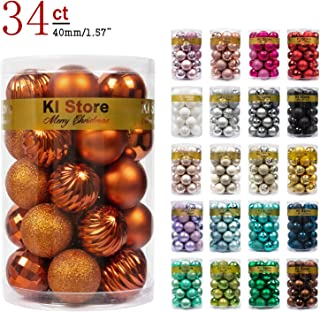 """KI Store 34ct Christmas Ball Ornaments Shatterproof Christmas Decorations Tree Balls Small for Holiday Wedding Party Decoration, Tree Ornaments Hooks Included 1.57"""" (40mm Bronze)"""