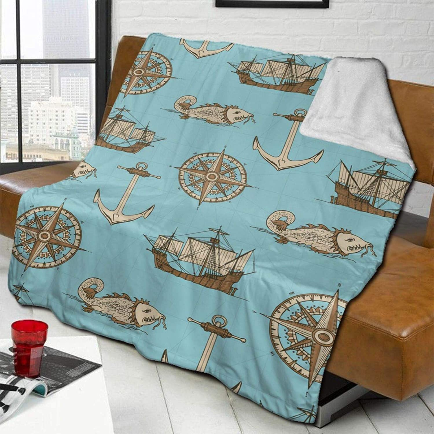 Old Nautical Map Lamb Wool Throw Soft Super Blanket Max 70% OFF free Double-Sided